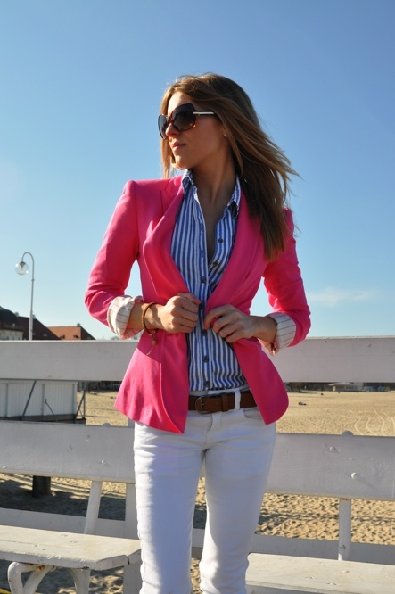pinspiration.blue striped with pink blazer