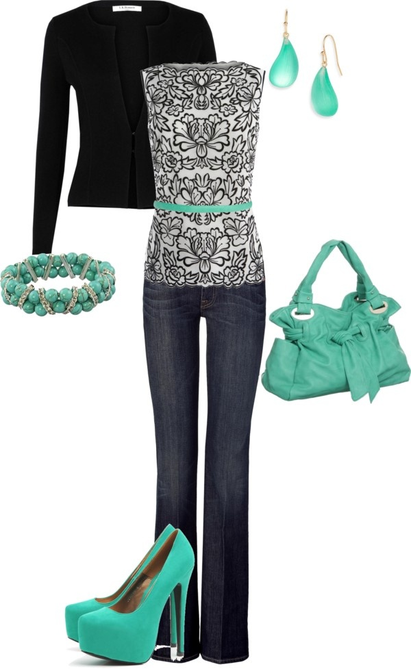 pinspiration.printed top and turquoise