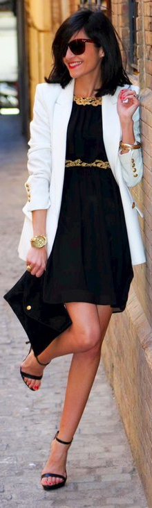 Pinspiration.Black Dress Light Blazer