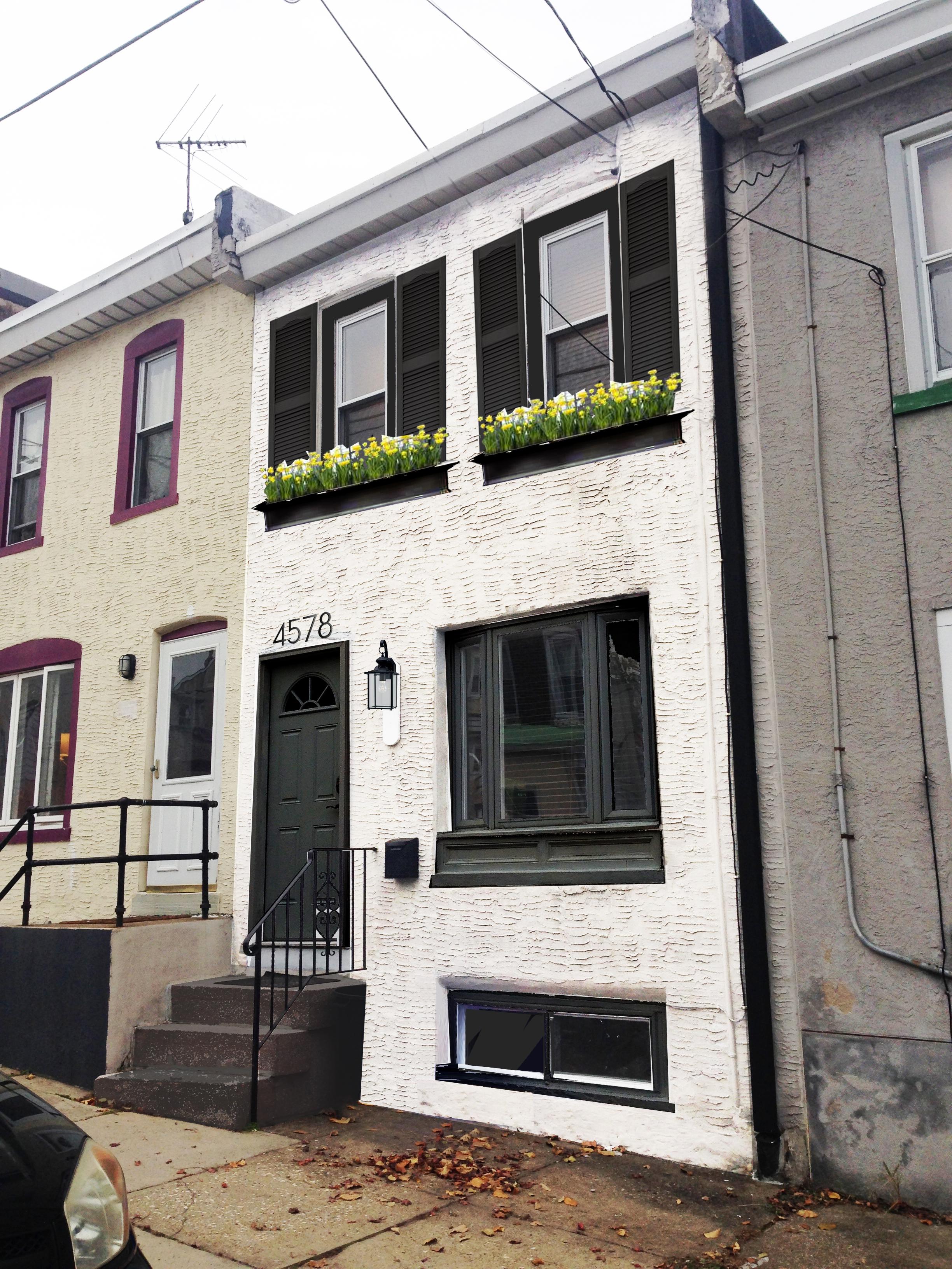 Photoshop fun for White stucco house black trim