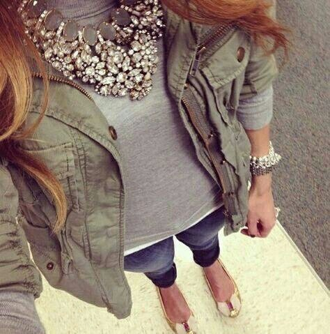 grey tshirt and jewel necklace