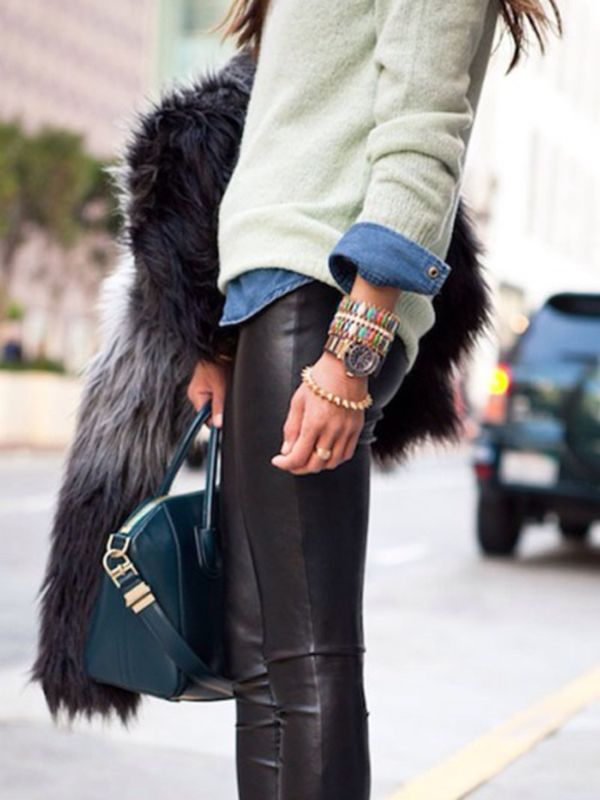 leather pants, cardigan, and chambray top