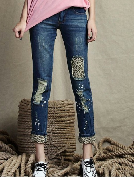 leopard ripped jeans