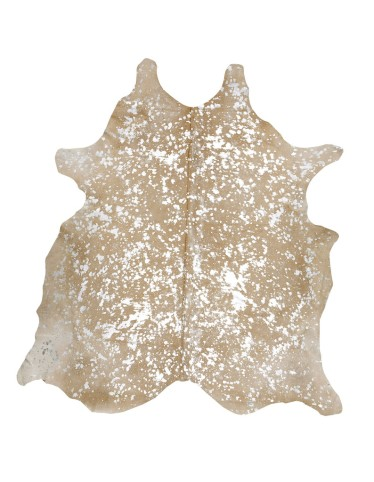 COWHIDE IMPORTS.DEVORE METALLIC SILVER ON BEIGE RUG